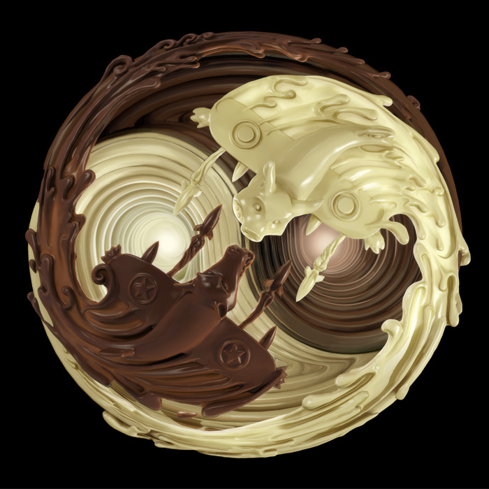 For the Love of Chocolate1, 3D fluid illustration : by Disko Ferdi Dick
