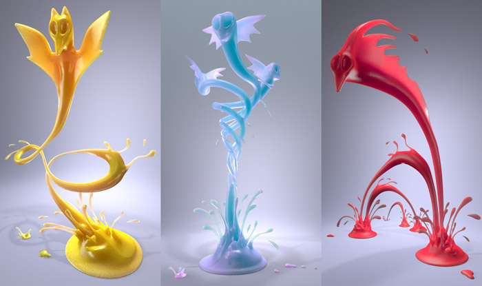 Bat, Snake and Dragon-Eel Frozen juicy Creature 3D Fluid Animation  : by Disko Ferdi Dick