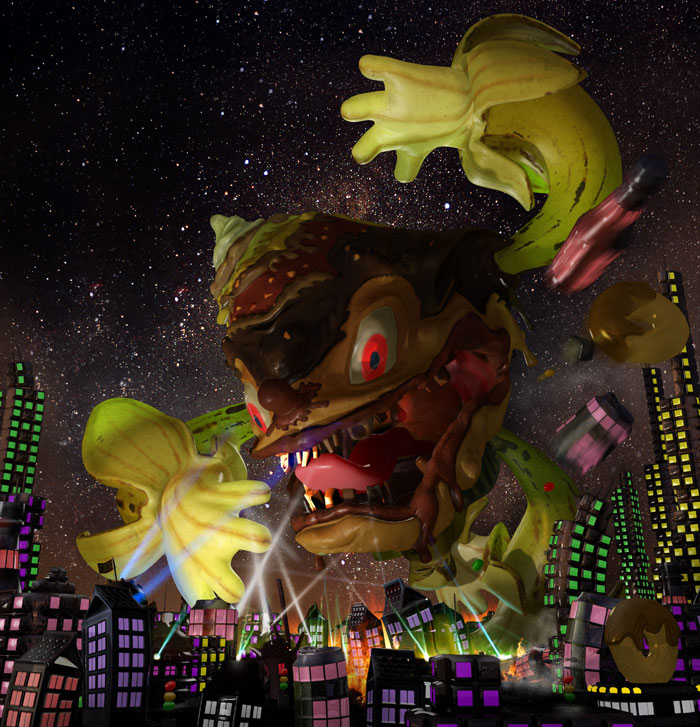 A Crazy cookie and cupcake monsters destroying city's: by disko ferdi