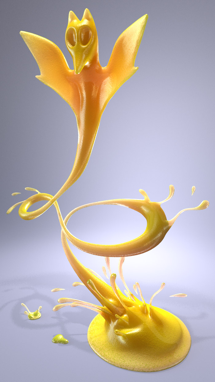 Bat Frozen juicy Creature 3D Fluid Animation  : by Disko Ferdi Dick