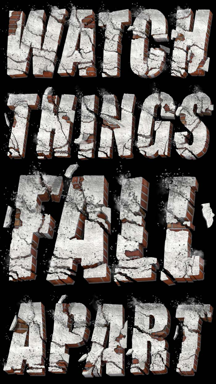 Watch things fall apart 3D Text Font  : by Disko Ferdi Dick
