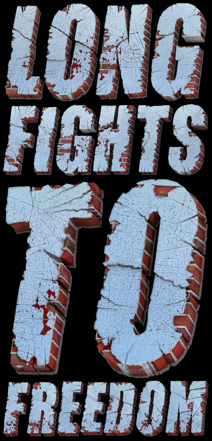 Long fights to freedom 3D Text Font  : by Disko Ferdi Dick