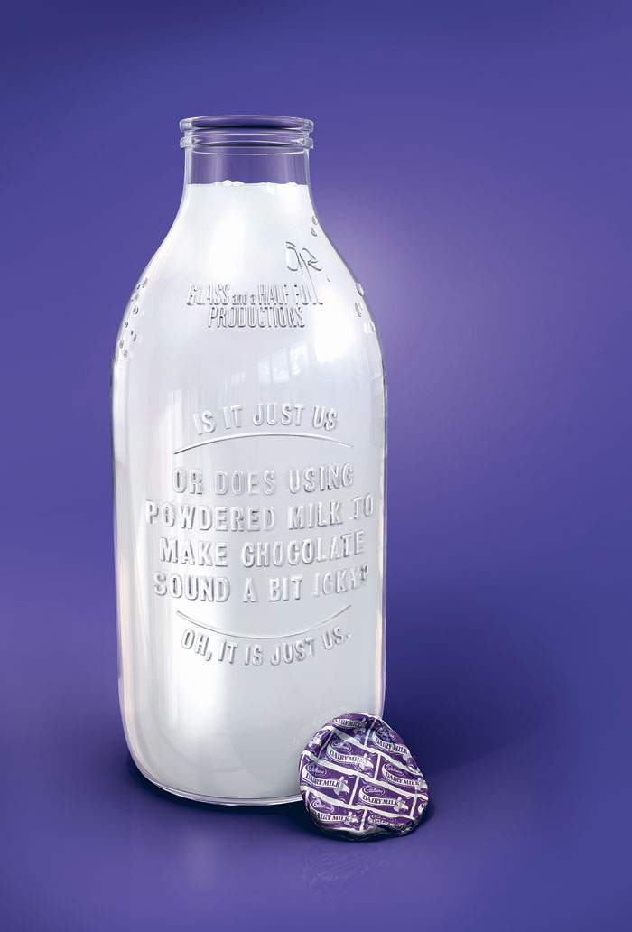 Cadburys milk-glass photo-realistic 3D Pack-shot : by disko ferdi