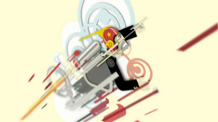 Animated Rocketeer lifting blasting off, executed in Vector styled 3D shapes : by disko ferdi
