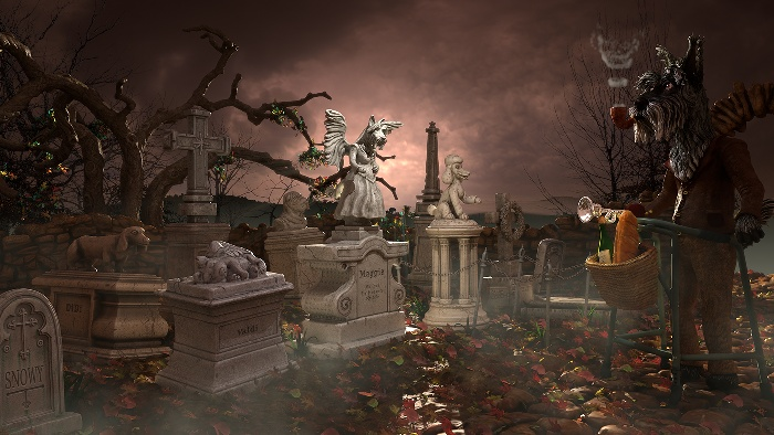 Scotty having Picnic with deceased wife in the cemetery: scene A illustration : by Disko Ferdi Dick