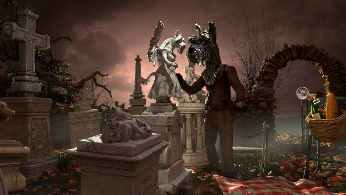 Scotty having Picnic with deceased wife in the cemetery: scene D illustration : by Disko Ferdi Dick