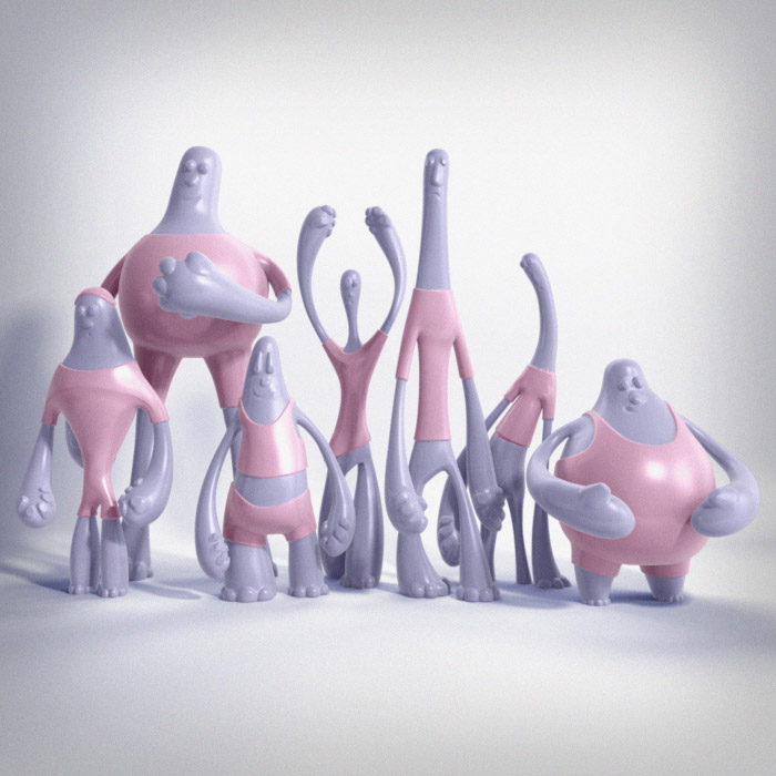bubble gum aliens 1, designer toy, 3d, illustrator, 3d animation, toy design