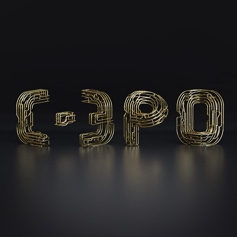 Copper C-3PO Typography, chocolate text, font, 3d typography, 3d font, gold font, copper font, black and white font, 3d illustration, 3d animation