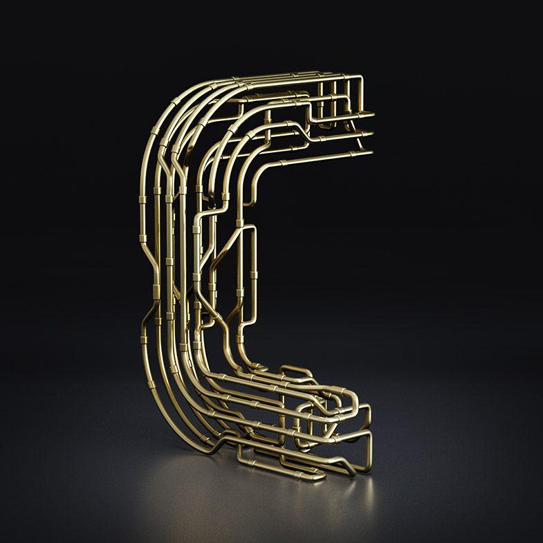 C Copper C-3PO Typography, chocolate text, font, 3d typography, 3d font, gold font, copper font, black and white font, 3d illustration, 3d animation