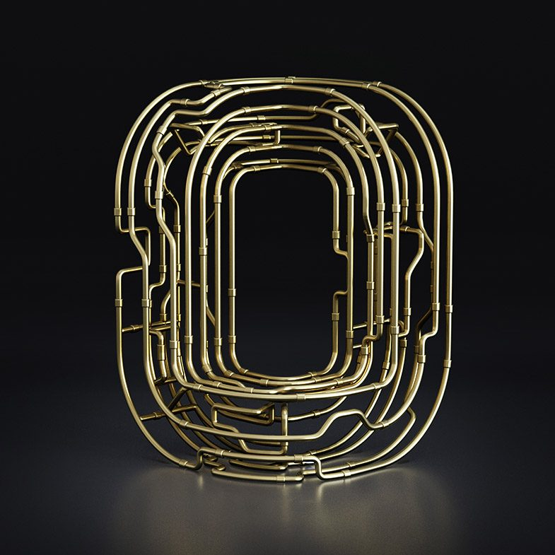 O Copper C-3PO Typography, chocolate text, font, 3d typography, 3d font, gold font, copper font, black and white font, 3d illustration, 3d animation
