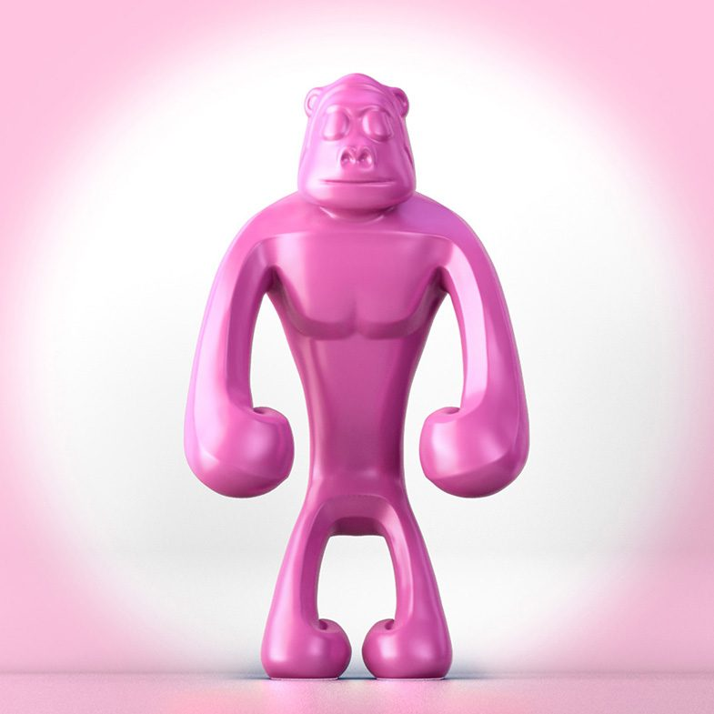 Pink_Aäp_ferdi_b_dick_disko3d_01  designer toy, 3d, illustrator, 3d animation, toy design