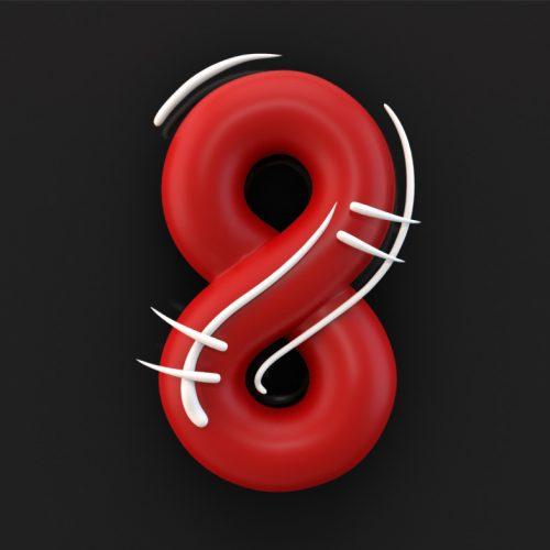Numer 8, 3D Typography interpretation of cartoon text. White movement lines on red bubble text. disko, ferdi b dick,
