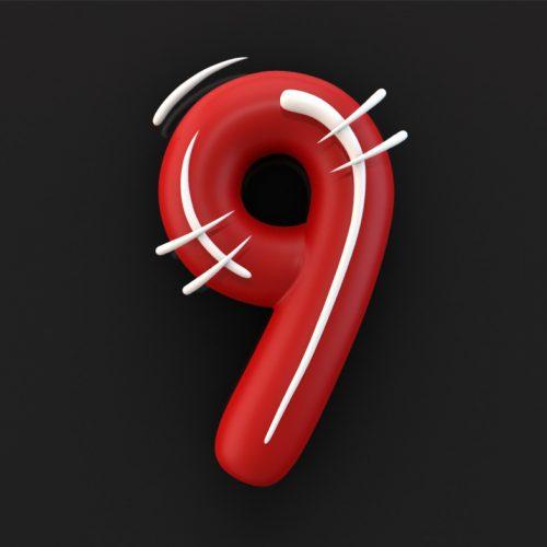 Numer 9, 3D Typography interpretation of cartoon text. White movement lines on red bubble text. disko, ferdi b dick,