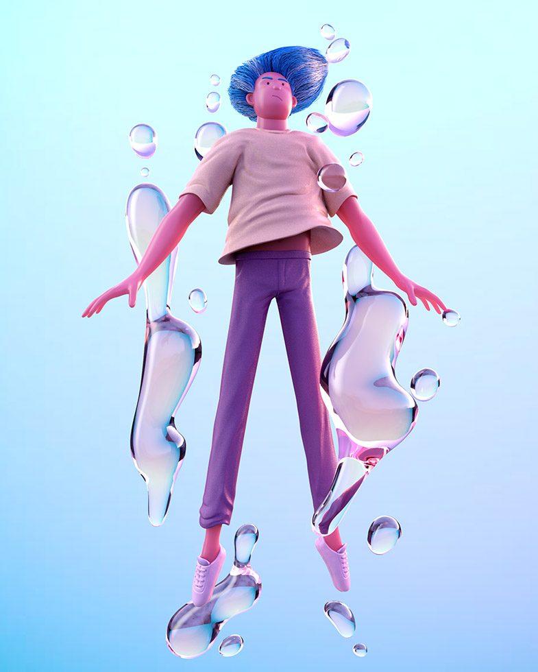3D rendering of blue man hovering between still water bubbles