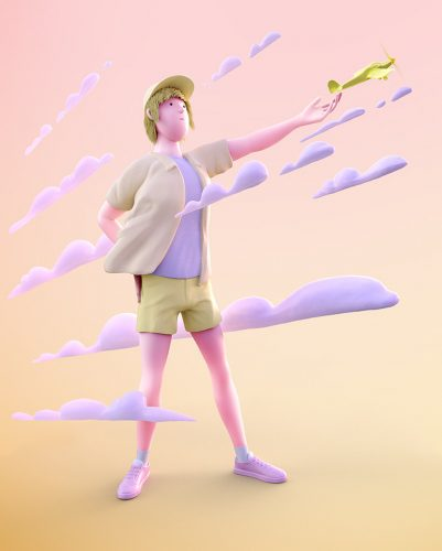3D rendering of yellow man releasing plane standing in milky clouds.