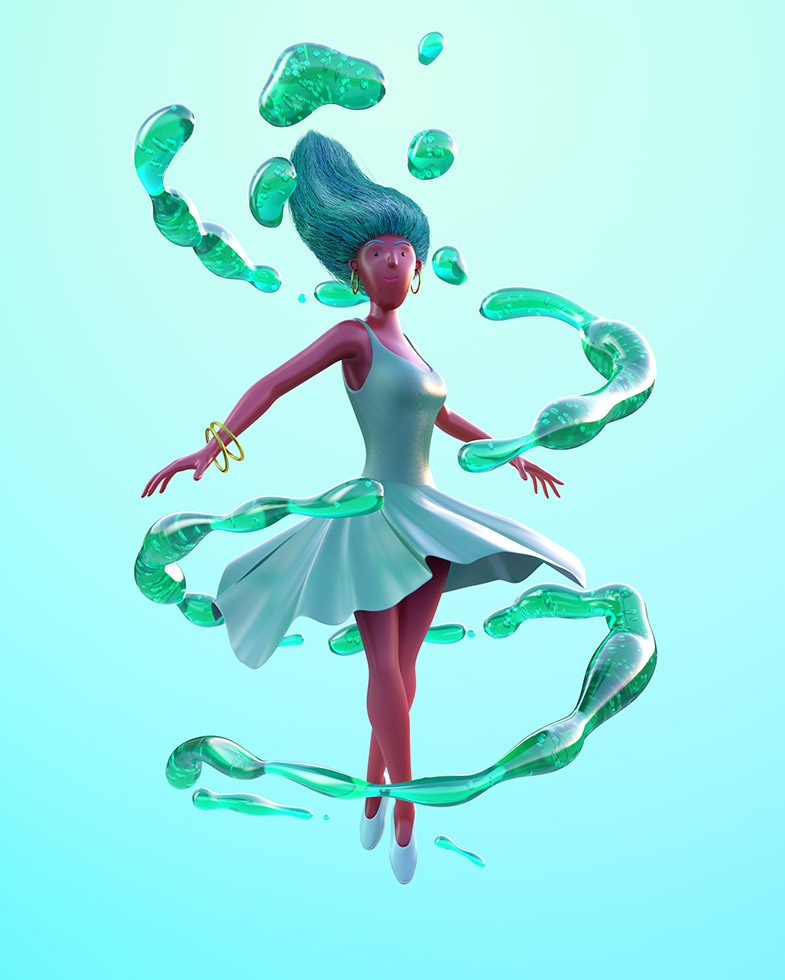 3D rendering of Green ballerina woman twirling around green soda pop bubbles.